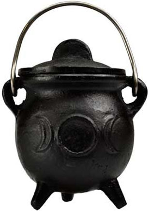 3 Inch Triple Moon Cast Iron Cauldron with Lid