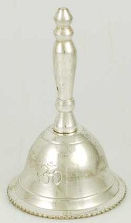 """2 1/2"""" Silver Om Altar Bell"""