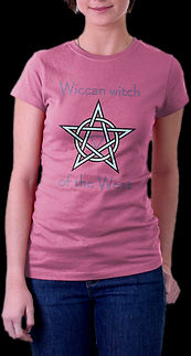 Young lady wearing Loki's Reverie magical pentagram Wiccan Witch of the West t shirt in Heliconia color