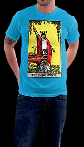 Man in jeans wearing custom Loki's REverie original mystic Magician Tarot t-shirt in Sapphire color