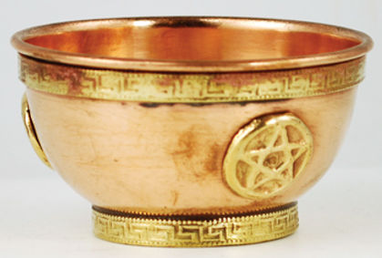 3 Inch Copper Pentagram Altar Ritual Offering Bowl