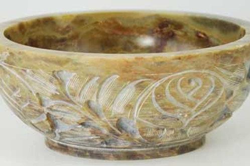 Carved Ornate Soapstone 5 Inch Altar offering bowl