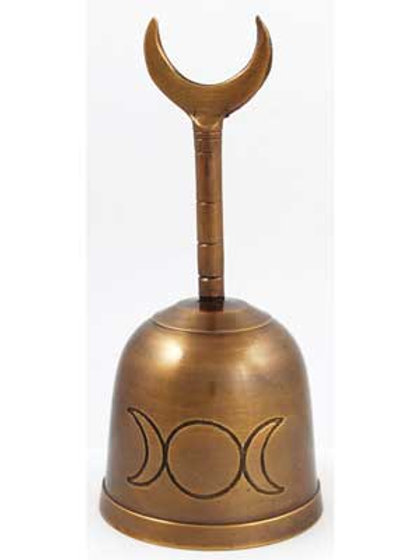 5 Inch Brass Wiccan Tri Moon Horned Stem Altar Bell