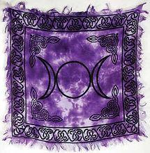 Celtic Wiccan Pagan Tri Moon Triple Goddess Altar Cloth