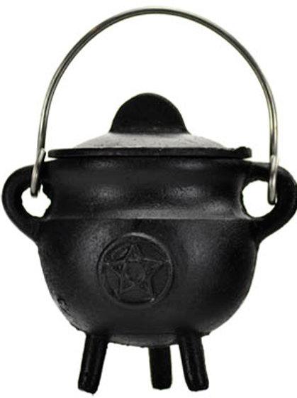 2 3/4 Inch Cast Iron Pentagram Cauldron With Lid