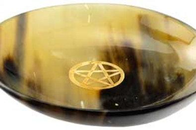 6 Inch Carved Horn Pentagram Altar Ritual Offering Bowl