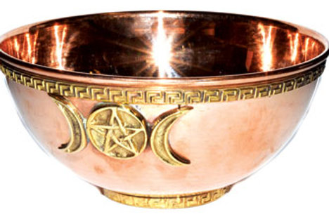 Ornate 6 Inch Copper Triple Moon Goddess Wiccan Altar Bowl