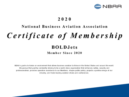 BOLDJets is proud to join the National Business Aviation Association.