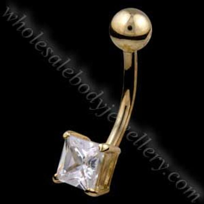 9ct Small Square Belly Bar (9N10)