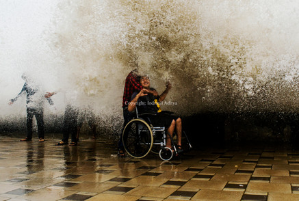 A boy on a wheel chair