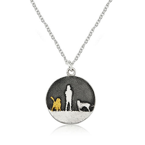 Kissing Bunnies Necklace, oxidised sky & white sapphire moon