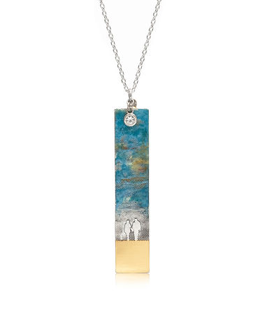 Moments Like This Couple Necklace, blue sky, 22 ct gold vermeil and white sapphire charm