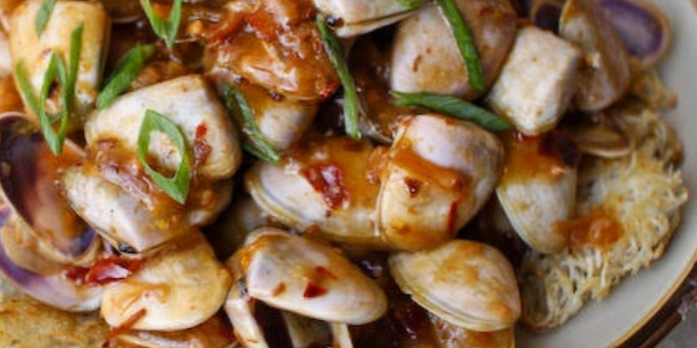 Pippies in XO Sauce with Fried Vermicelli