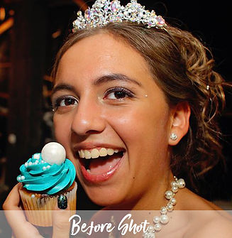 Cape Coral portrait photographer Mark Schoenfelt captures a before shot of a young bride eating a cupcake.