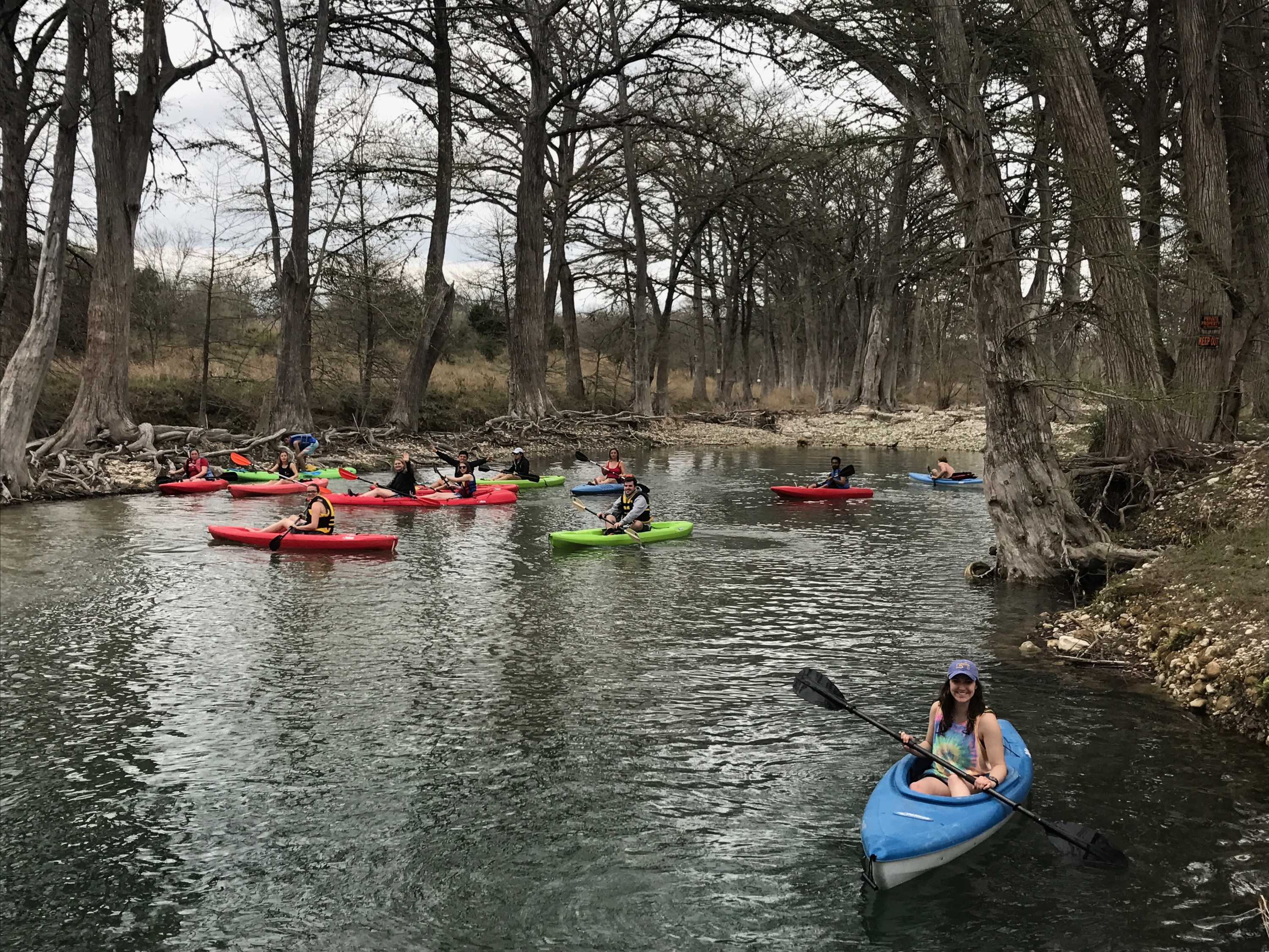 Large group of kayakers in March