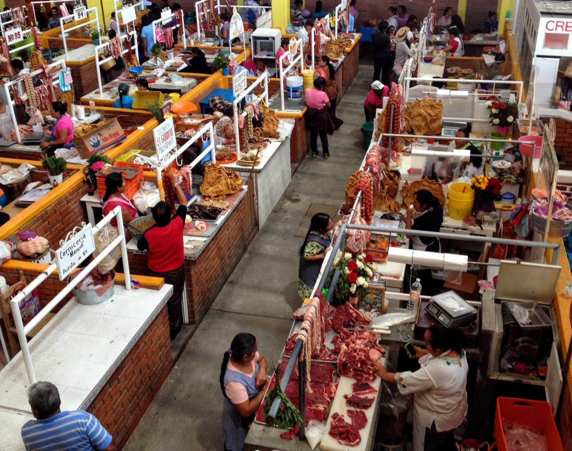Indoor Meat market in Zaachila