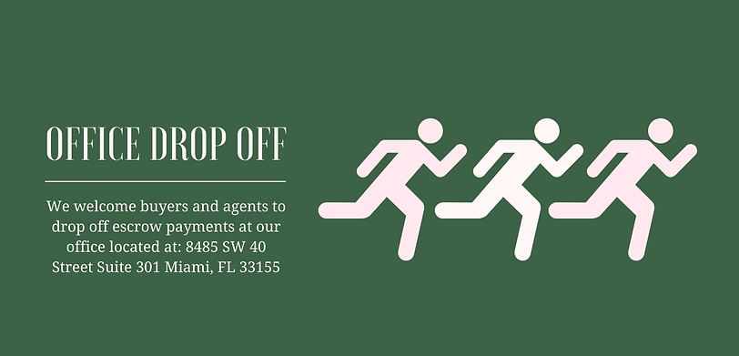 Office Drop Off. We welcome buyers and agents to drop off escrow payments at our office located at 8485 SW 40 Street Suite 301 Miami, FL 33155. Drawing of three men running.