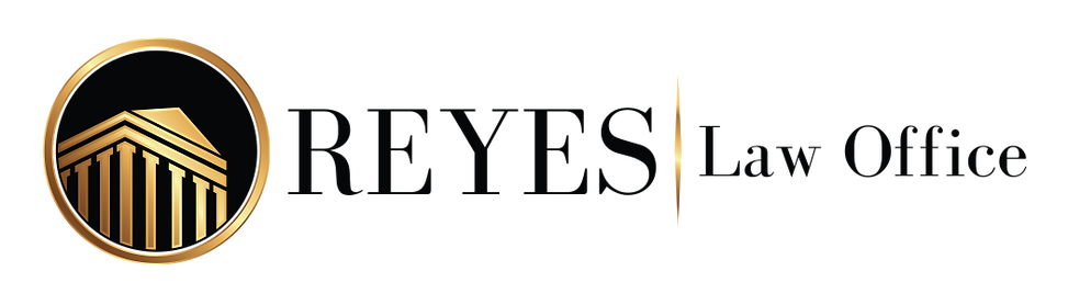 Reyes Law Office Logo with gold ring circle around a gold house with gold columns and black background.