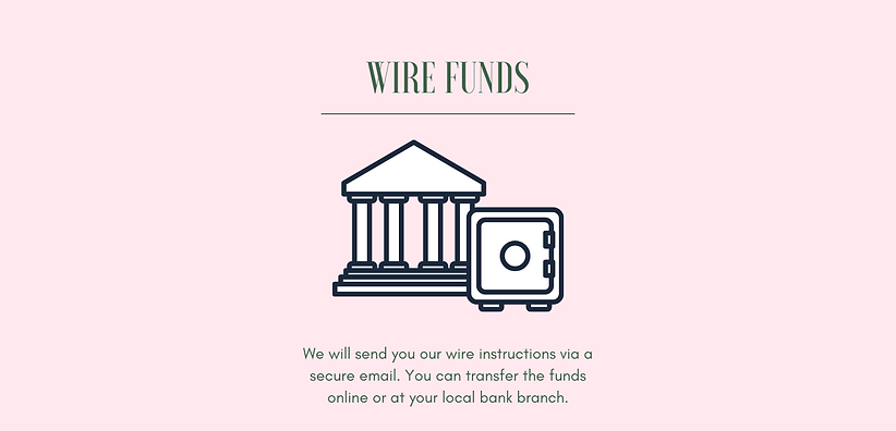 Wire Funds. We will send you our wire instructions via a secure email. You can transfer the funds online or at your local bank branch. Drawing of Bank and Safe.