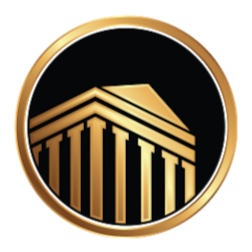 Reyes Logo Gold circle around a gold house with gold columns with a black background.
