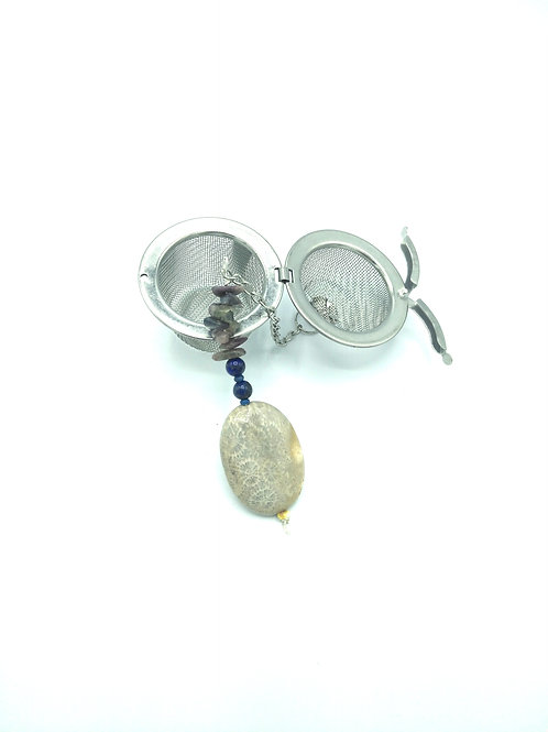 Fossil Coral with Lapis Lazuli Gemstone Tea Infuser