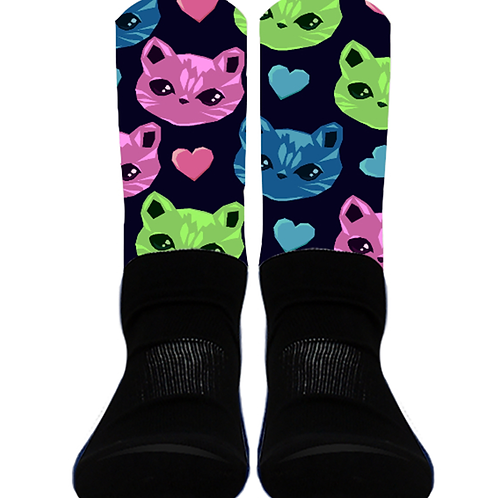 Neon Cats - Crew Socks