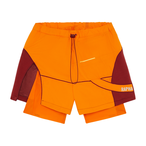 Hybrid orange shorts with cycling short. - Size M