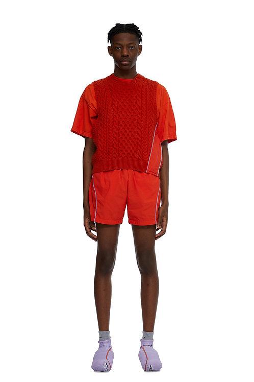 Orange aran knit vest