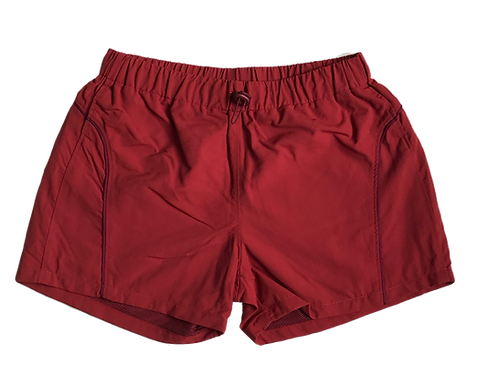 RED NYLON SHORT SHORTS