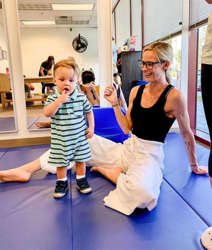meghan king edmonds with son hart after hyperbaric oxygen therapy hbot