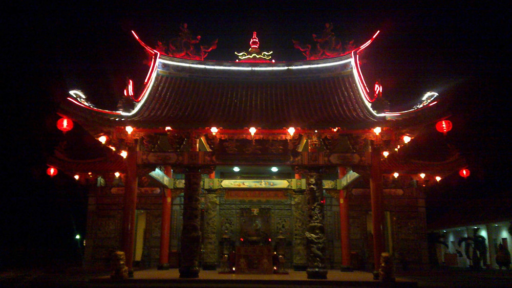Satya Dharma Temple at night