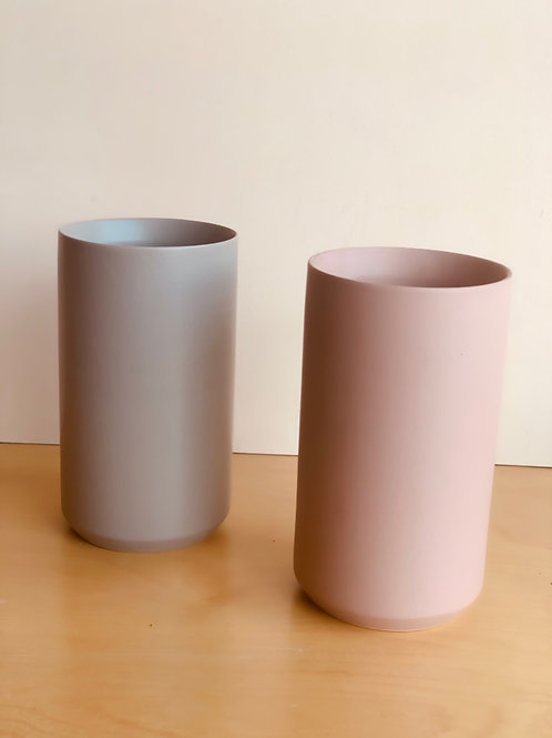 Muted gray and pink vases