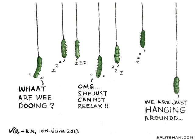Hanging around.