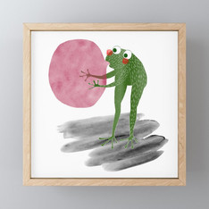 >>FROG AND BUBBLEGUM<<, FRAMED ART-PRINT