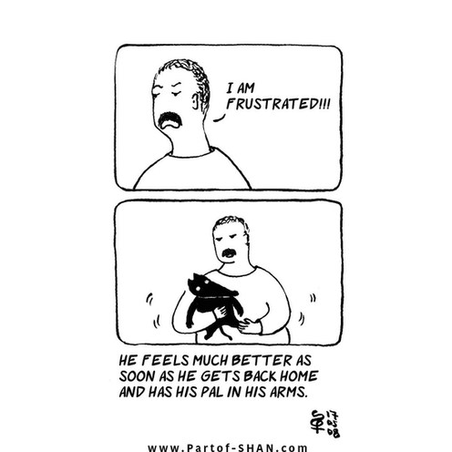 Man with mustache is frustrated.