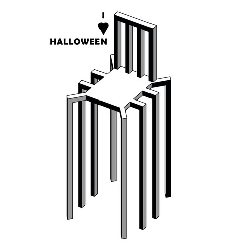Chair is ready for Halloween.