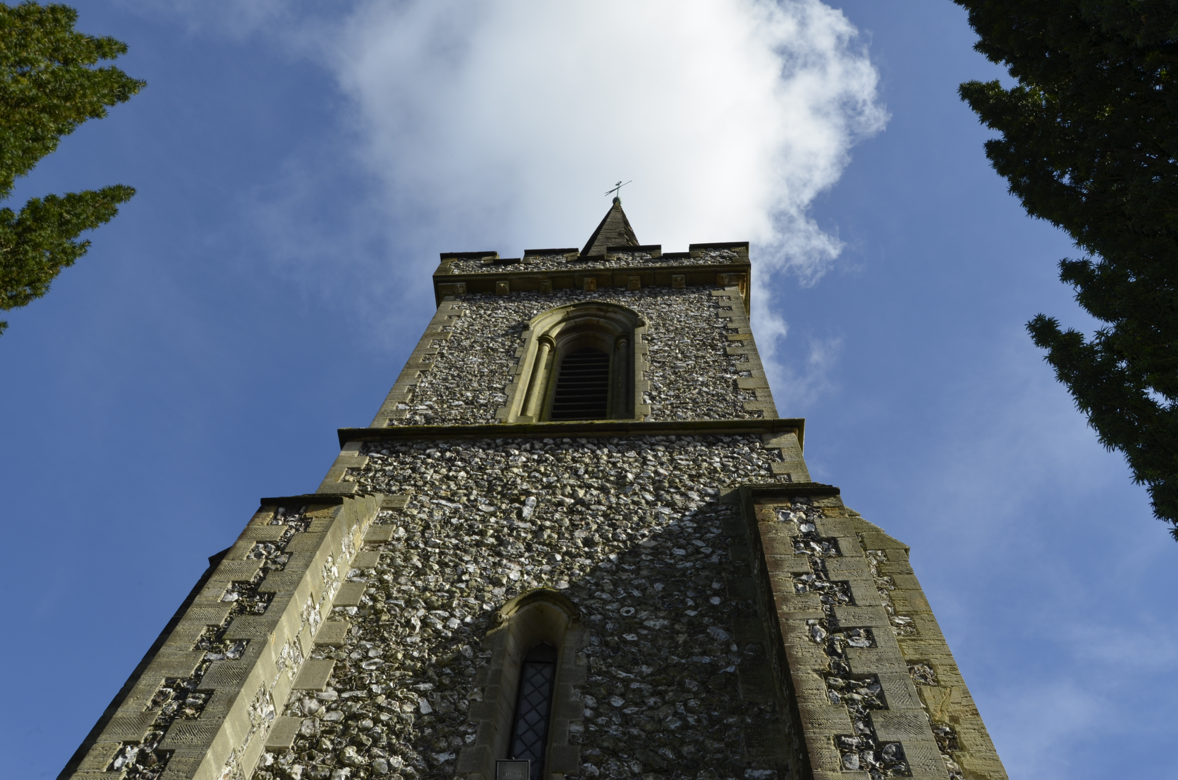 Stanmer church blue sky