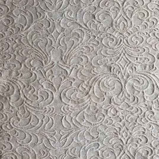 "Venetian Scroll Beige *KB Fabrics Exclusive Pattern* ·48% Rayon, 34% Polyester, 18% Acrylic ·54"" ·15,000 Double Rubs ·Repeat: H: 13.75"" x V: 14.63"" ·Uses: Upholstery, Residential ·Cleaning Code: S ·Railroaded: Yes ·Country of Origin: USA"