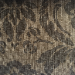 """Queen Pecan ·95% Polyester, 5% Linen ·54"""" ·30,000 Double Rubs ·Repeat: H: 14.25"""" x V: 15"""" ·Railroaded ·Cleaning Code: W ·Uses: Upholstery"""