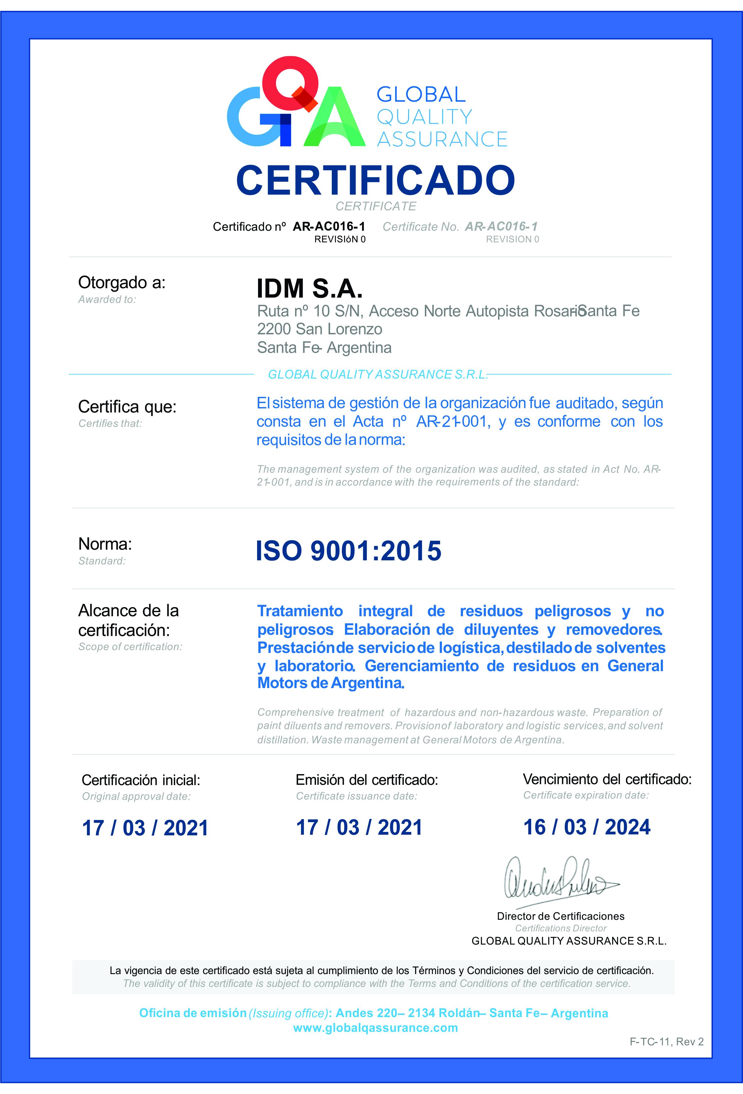 C1_F-TC-11 Certificado_IDM_ISO 9001_ARAC