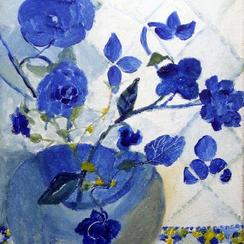 Vase aux fleurs bleues