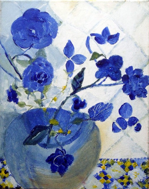 Le vase bleu fleuri