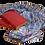 Thumbnail: Écharpe laine et soie Romance bleue à la frange violette