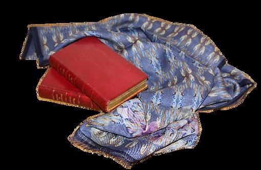 Écharpe laine et soie Romance bleue à la frange violette
