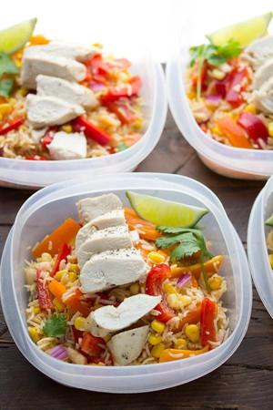 (Make Ahead) Chicken Fajita Lunch Bowls