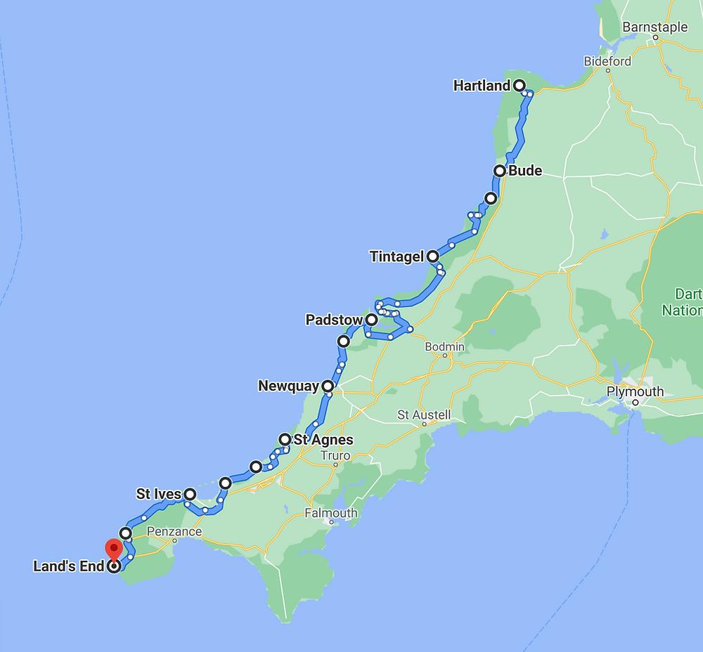 North Cornwall West Cornwall Road Trip 1 Week 2 week Itinerary Map