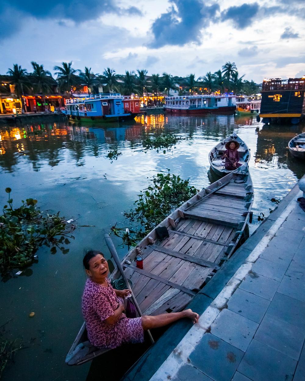 Boats on the Thu Bon River, Hoi An, Vietnam
