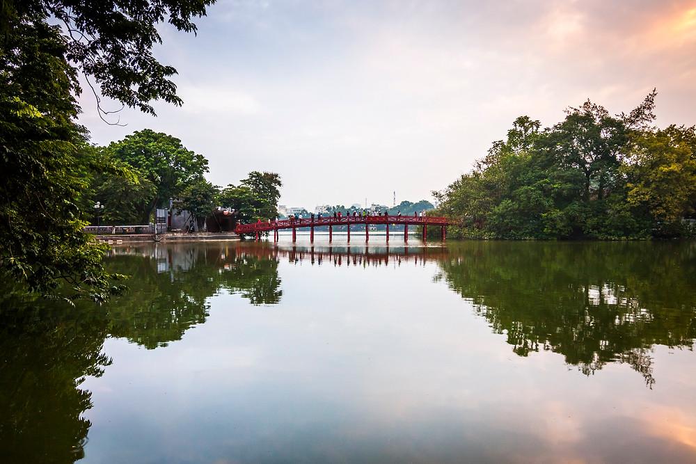 Hoan Kiem Lake, Hanoi, Vietnam at Sunset