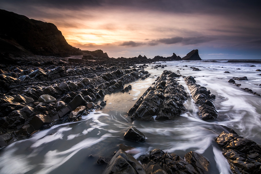 Sunset At Hartland Quay, North Devon, North Cornwall Coast Road Trip 1 Week 2 week Itinerary, landscape photography