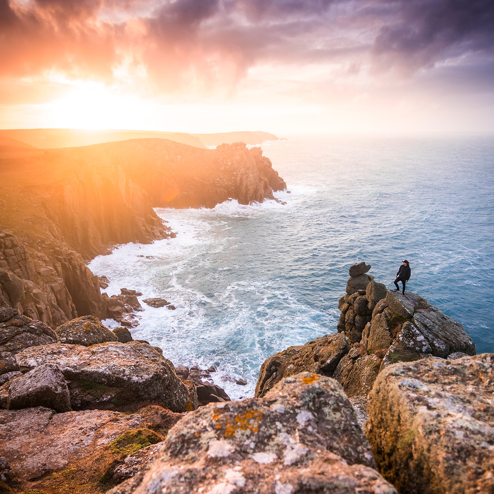 By The Compass, Land's End, Pordennack Point, Cornwall, Sunrise, Selfie